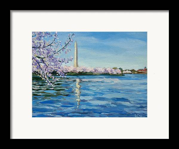 Cherry Blossoms Framed Print featuring the painting Cherry Blossoms by Edward Williams