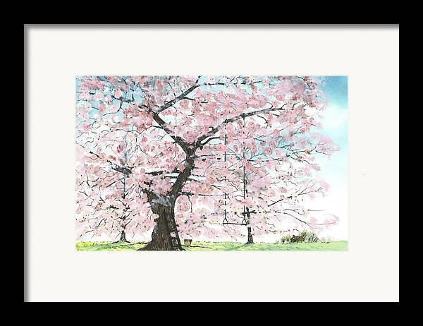 Cherry Trees Framed Print featuring the painting Cherry Trees by Patrick Grills
