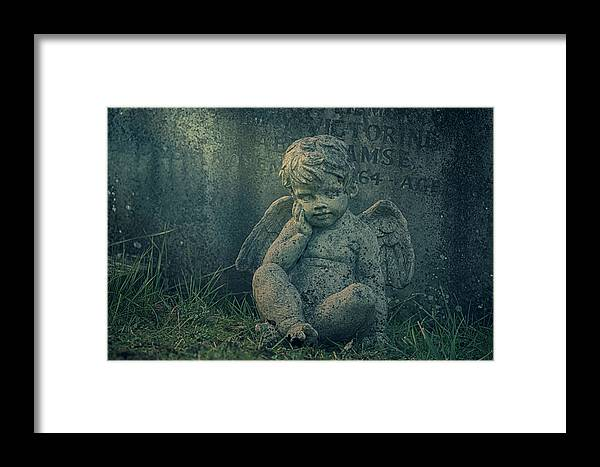 Anglican Framed Print featuring the photograph Cherub Lost In Thoughts by Monika Tymanowska