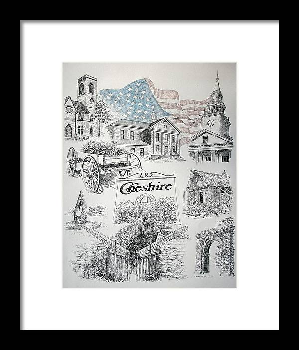 Connecticut Cheshire Ct Historical Poster Architecture Buildings New England Framed Print featuring the drawing Cheshire Historical by Tony Ruggiero