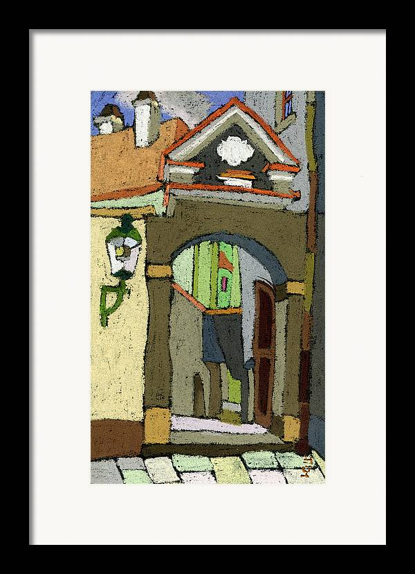 Pastel Framed Print featuring the painting Chesky Krumlov Old Street Latran by Yuriy Shevchuk