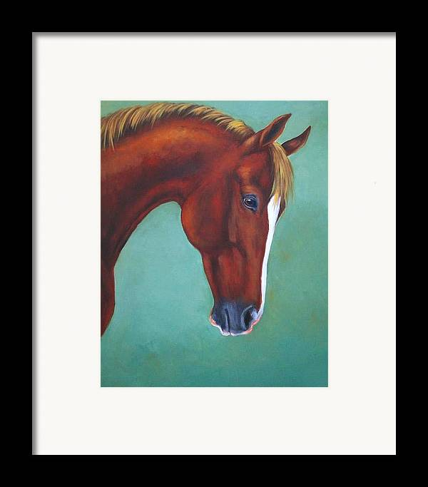 Horse Framed Print featuring the painting Chestnut Horse by Oksana Zotkina