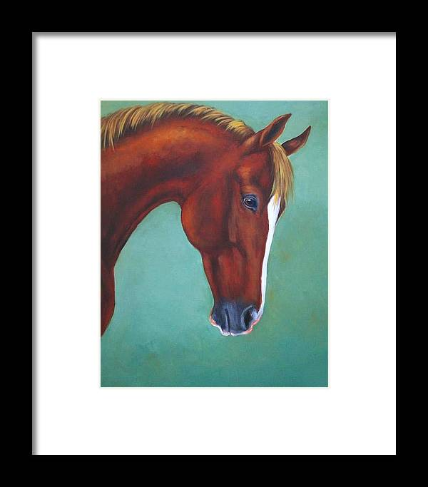 Horse Framed Print featuring the painting Chestnut Horse by Oksana Zotkina