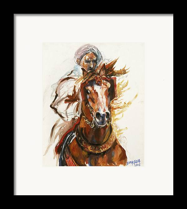 Horse Framed Print featuring the painting Cheval Arabe Monte En Action by Josette SPIAGGIA
