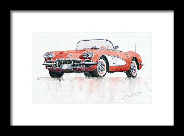 Watercolor Framed Print featuring the painting Chevrolet Corvette C1 1960 by Yuriy Shevchuk