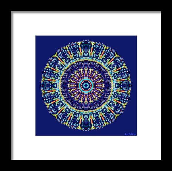 Digital Framed Print featuring the digital art Chevrons II Mandala by Joy McKenzie
