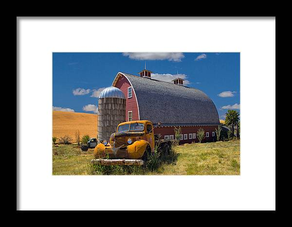 Truck Framed Print featuring the photograph Chevy By The Red Barn by Emil Davidzuk