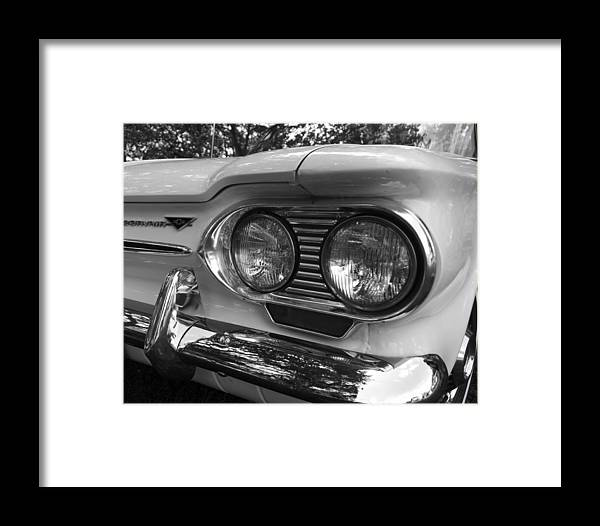 Chevy Framed Print featuring the photograph Chevy Corvair Headights And Bumper Black And White by Toby McGuire
