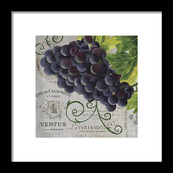 Grapes Framed Print featuring the painting Vins de Champagne 2 by Debbie DeWitt