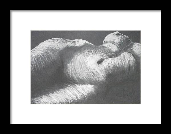 Original Framed Print featuring the drawing Chiaroscuro - Torso by Carmen Tyrrell