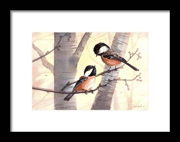 Birds Framed Print featuring the painting Chic Chat by Sean Seal