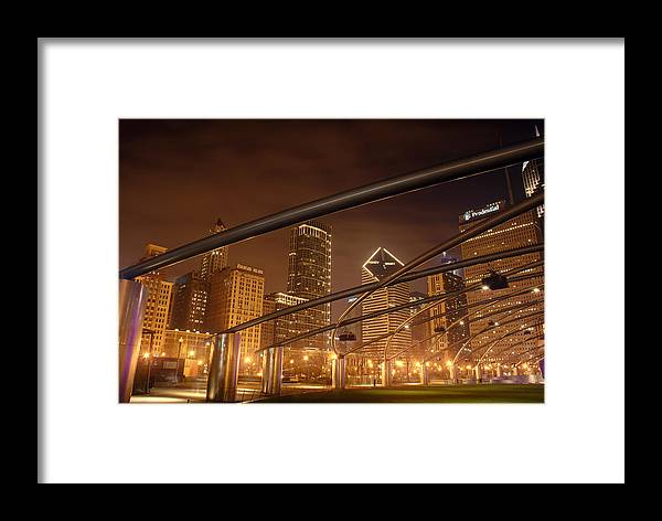 Hdr Framed Print featuring the photograph Chicago At Night by Andreas Freund