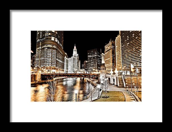 America Framed Print featuring the photograph Chicago at Night at Wabash Avenue Bridge by Paul Velgos