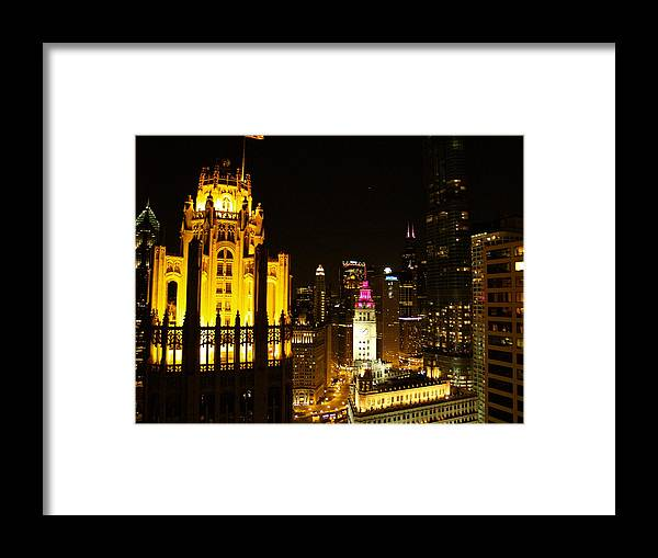 Chicago Framed Print featuring the photograph Chicago At Night by Jacob Stempky