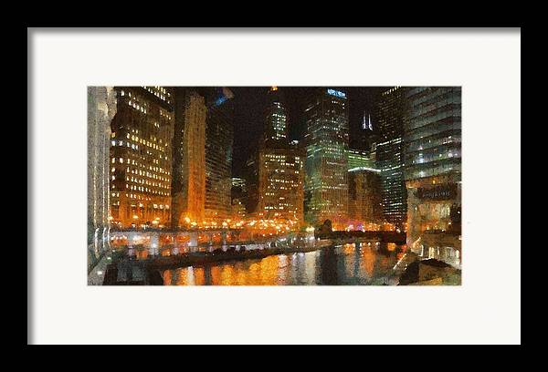 Chicago Framed Print featuring the painting Chicago At Night by Jeffrey Kolker
