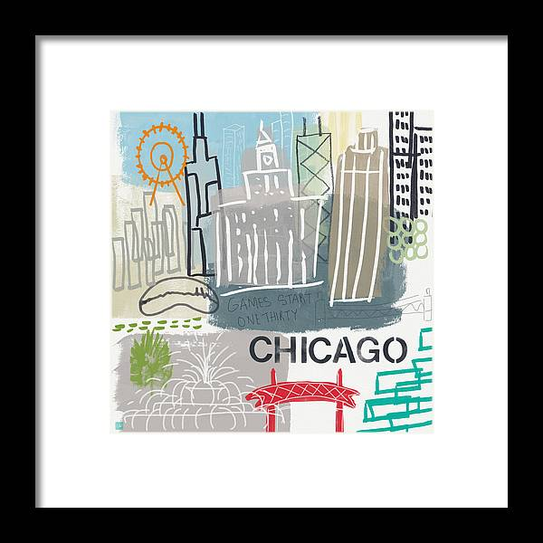 Chicago Framed Print featuring the painting Chicago Cityscape- Art By Linda Woods by Linda Woods