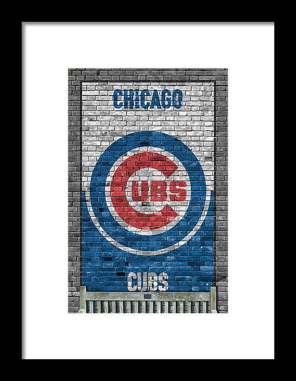 Cubs Framed Print featuring the painting Chicago Cubs Brick Wall by Joe Hamilton