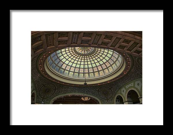 Chicago Cultural Center Framed Print featuring the photograph Chicago Cultural Center Tiffany Dome 01 by Thomas Woolworth