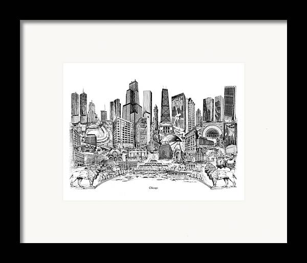 City Drawing Framed Print featuring the drawing Chicago by Dennis Bivens