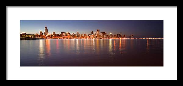 Chicago Framed Print featuring the photograph Chicago Dusk Skyline Panoramic by Sven Brogren