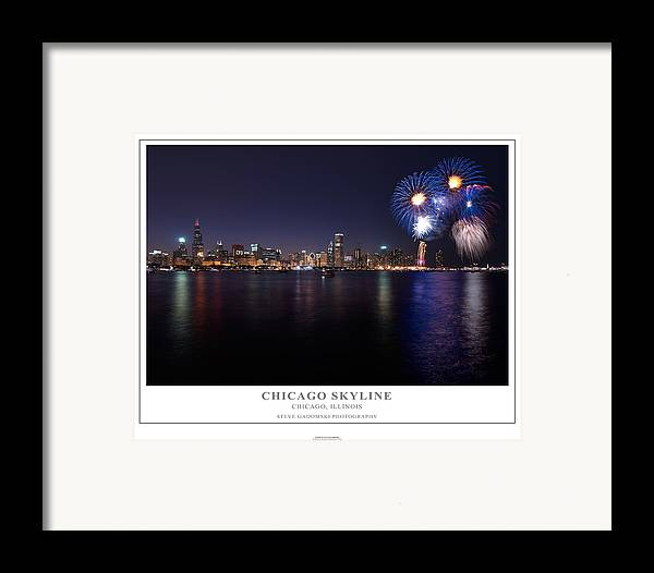 4th Framed Print featuring the photograph Chicago Lakefront Skyline Poster by Steve Gadomski