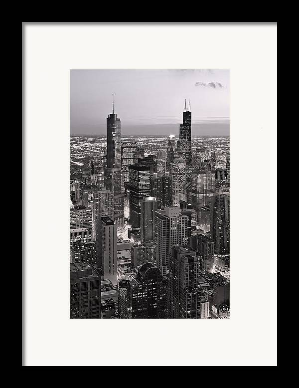 Aerial Framed Print featuring the photograph Chicago Loop Sundown B And W by Steve Gadomski