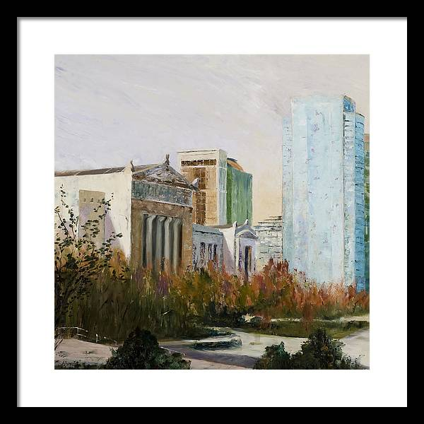 Landscape Framed Print featuring the painting Chicago Museum Campus From The Steps Of The Shedd by Nancy Albrecht
