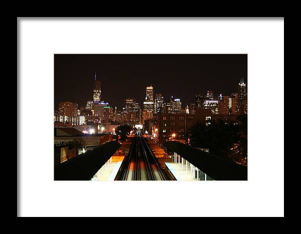 Landscape Framed Print featuring the photograph Chicago Night Sky by Anita Troy