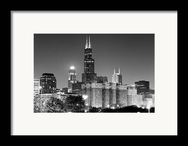 At&t Framed Print featuring the photograph Chicago Night Skyline In Black And White by Paul Velgos