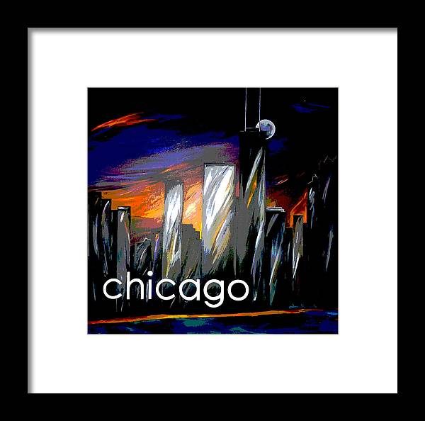 Chicago Framed Print featuring the painting Chicago Night Skyline by Jean Habeck