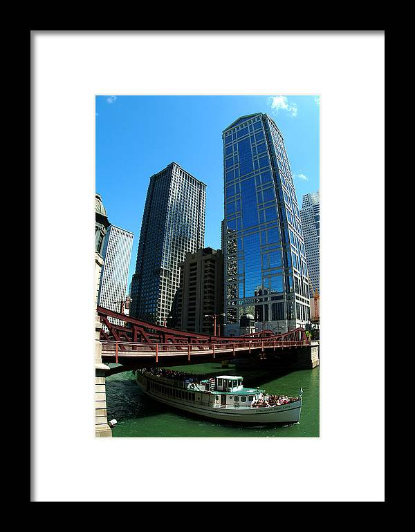 Chicago Framed Print featuring the photograph Chicago River - Chicago Boat Tour by Dmitriy Margolin