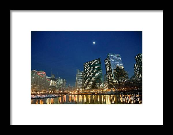 Chicago Skyline Framed Print featuring the photograph Chicago River With Skyline And Moon by Sven Brogren