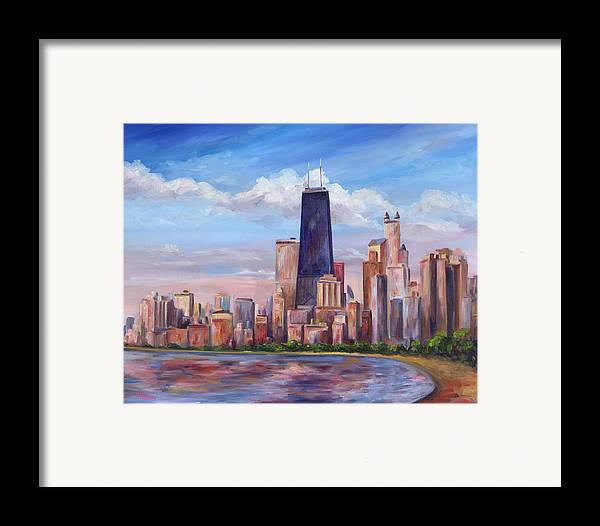Chicago Framed Print featuring the painting Chicago Skyline - John Hancock Tower by Jeff Pittman