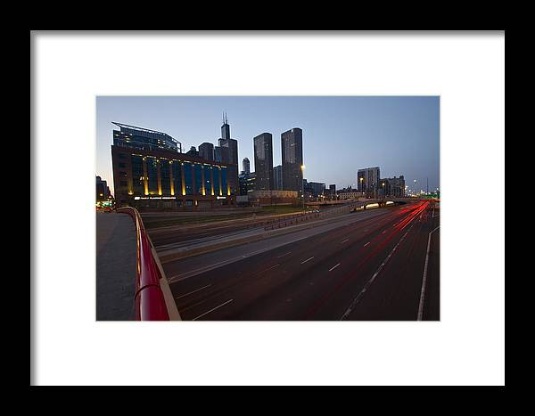 Chicago Skyline Framed Print featuring the photograph Chicago Skyline And Expressway by Sven Brogren