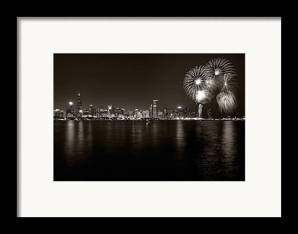 4th Framed Print featuring the photograph Chicago Skyline Fireworks Bw by Steve Gadomski