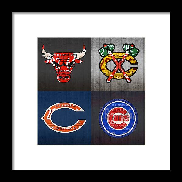 187b2f8ea Chicago Framed Print featuring the mixed media Chicago Sports Fan Recycled  Vintage Illinois License Plate Art