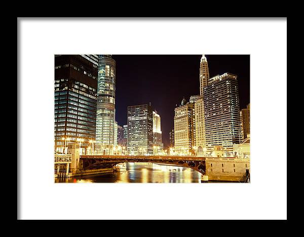 330 North Wabash Framed Print featuring the photograph Chicago State Street Bridge At Night by Paul Velgos