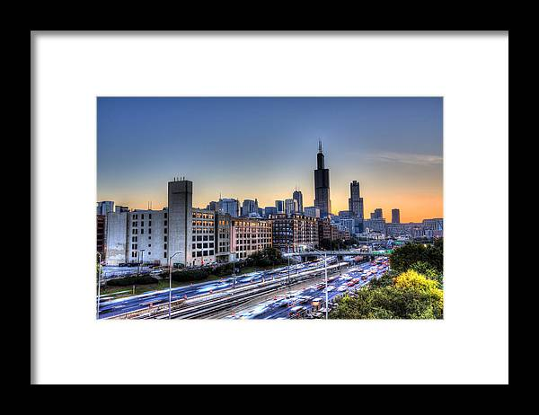Chicago Framed Print featuring the photograph Chicago Sunrise Rush Hour by Shawn Everhart