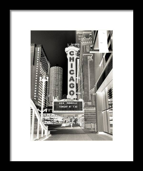 Chicago Theater Marquee Framed Print featuring the photograph Chicago Theater - 2 by Ely Arsha
