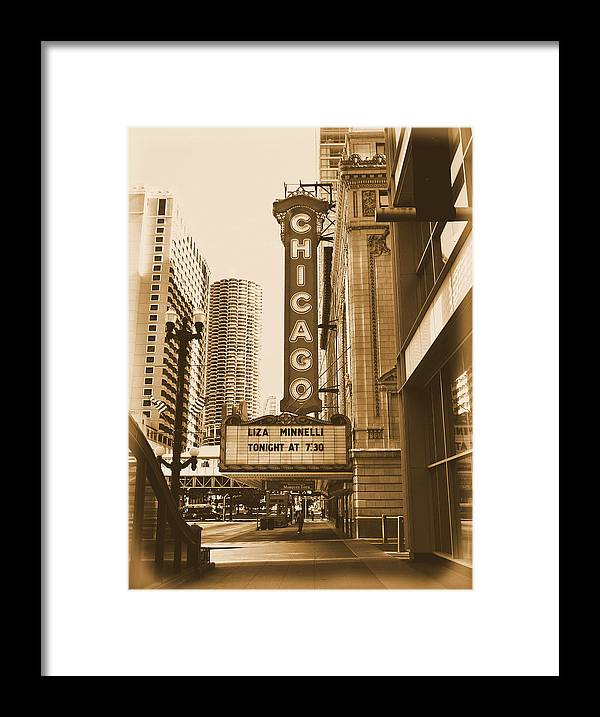 Chicago Theater Marquee Framed Print featuring the photograph Chicago Theater - 3 by Ely Arsha