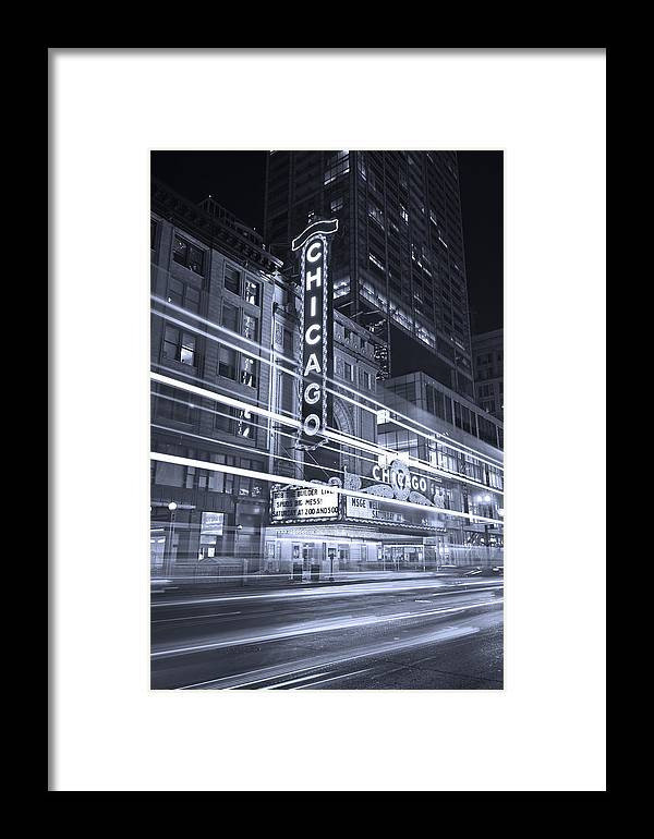Chicago Framed Print featuring the photograph Chicago Theater Marquee B And W by Steve Gadomski