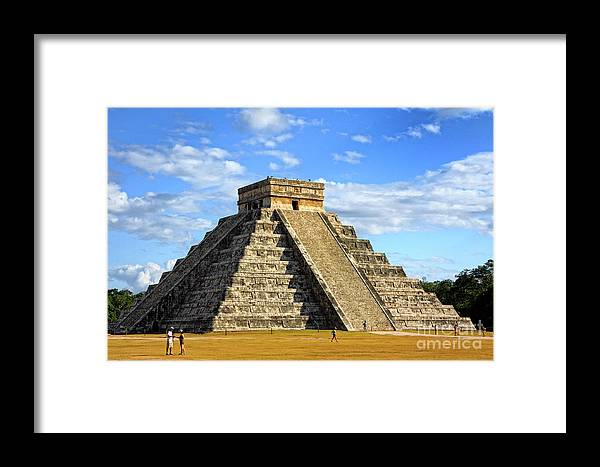 Chichen Itza; Mexico; Maya; Pyramid; Ruins; People; Tourist; Tourism; Tourists; Side; Cloud; Moody Sky; Dark Cloud; Dramatic Sky; Travel; Architecture; Ancient; Mayan Framed Print featuring the photograph Chichen Itza Pyramid by Charline Xia