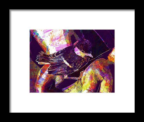 Chick Framed Print featuring the digital art Chick Bird Breeding Down Protect by PixBreak Art