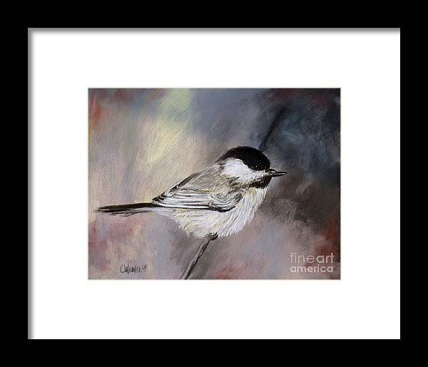 Chickadee Framed Print featuring the painting Chickadee by Cathy Weaver