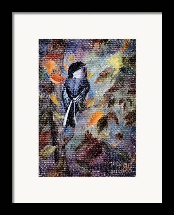 Bird Framed Print featuring the painting Chickadee In The Fall by Brenda Thour