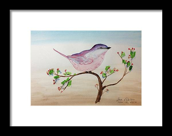 Watercolor Framed Print featuring the painting Chickadee Standing On A Branch Looking by M Valeriano