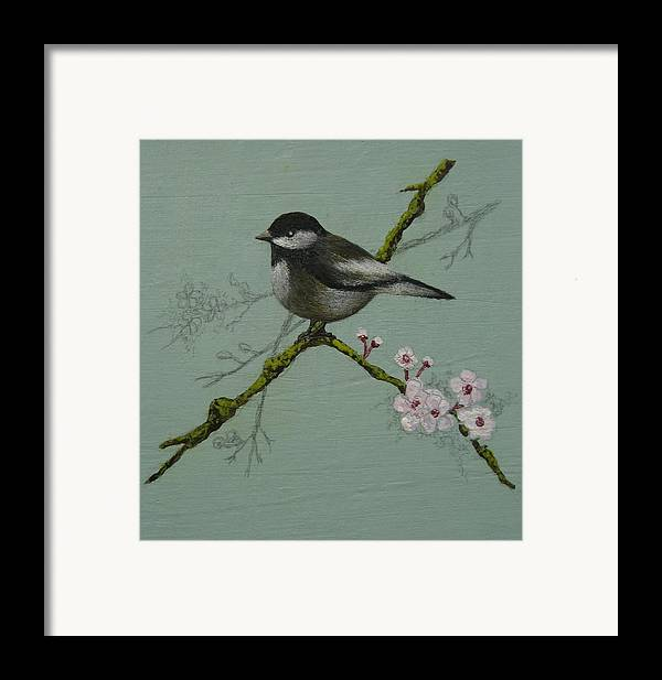 Miniature Framed Print featuring the painting Chickadee by Victoria Heryet