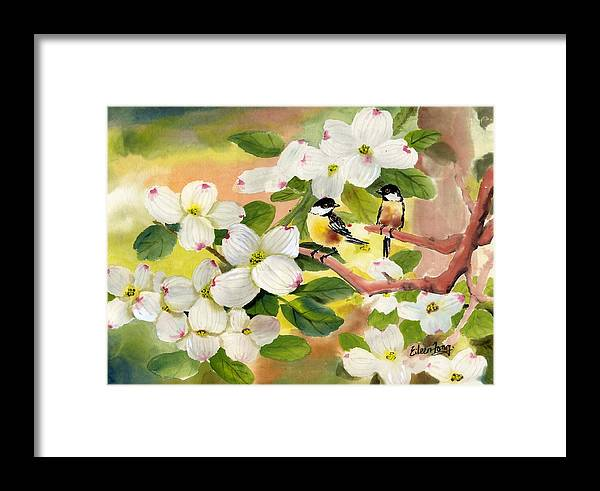 Chickadees Framed Print featuring the painting Chickadees In The Dogwood Tree by Eileen Fong