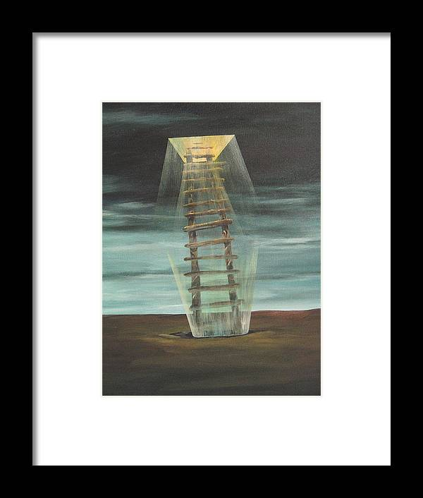 Surrealism Framed Print featuring the painting Chickasaw's Ladder by K Hoover
