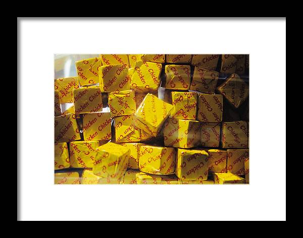 Still Life Framed Print featuring the photograph Chicken Cubes by Jan Amiss Photography
